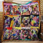 Theartsyhomes Colorful Pitbull - 3D Personalized Customized Quilt Blanket ESR37
