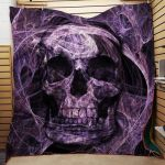Theartsyhomes Deep Purple Skull Fabric 3D Personalized Customized Quilt Blanket ESR4