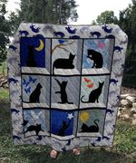 Theartsyhomes Black cat 3D Personalized Customized Quilt Blanket ESR1