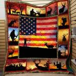 Theartsyhomes Deer Hunter American Flag Printing Pm-Qvk00004 3D Personalized Customized Quilt Blanket ESR13