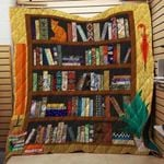 Theartsyhomes Book Bookshelves 3D Personalized Customized Quilt Blanket ESR40
