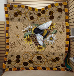 Theartsyhomes Bee Flower 3D Personalized Customized Quilt Blanket ESR23