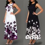 2019 Fashion Women's Boho Floral Print Long Maxi Dress Evening Casual Sleeveless Party Beach Dress Summer Sundress