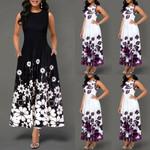 2019 Fashion Women's Boho Floral Print Long Maxi Dress Evening Casual Sleeveless Party Beach Dress Summer Sundress