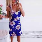 Backless  Ruffled Mermaid Sexy Spaghetti Straps Print Floral Midi Dress
