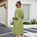 A-Line Stand Long Sleeve Button Elastic Waist Elegant Office Dress