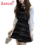 Long Sleeve Plaid A Line Fit Flare Elegant Black Dress