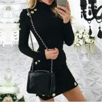 Fashion Long Sleeve Casual Fashion O Neck Sexy Black Dress