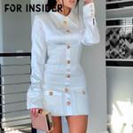 Long sleeve tassel blazer patchwork white dress