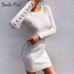 O-Neck Elasticity Hook Button Long Sleeve Knitted White Dress