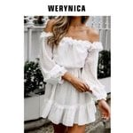 bare shoulders polka dot white dress