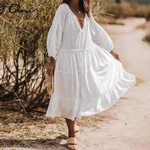 Casual V Neck Long Sleeve Ruffled  Lace Stitching White Dress