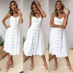 Spaghetti Strap Button Sleeveless Sexy Casual White Dress