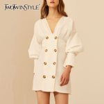 V Neck Puff Sleeve Fashion White Dress