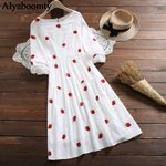 O Neck Strawberry Embroidery Loose  White Dress