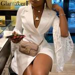 Sexy lace patchwork blazer Retro flare sleeve white dress