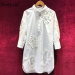 Elegant Hollow Out Embroidery Fashion Cotton White Dress