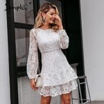 Elegant lace transparent Puff sleeve floral long sleeve white dress