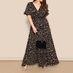 Fashion Sexy Elegant V-Neck Short Sleeve Bandage Leopard Dress