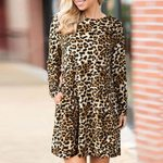 O-Neck Fashion Sexy Long Sleeve Leopard Printed Pocket Dress