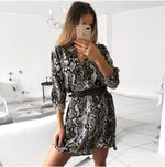 Elegant long sleeve Fashion Leopard Dress