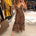 Deep V Butterfly Wrap Sling Sleeveless Leopard Dress