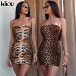 Sleeveless Backless Casual Spaghetti Strap Sexy Leopard Dress