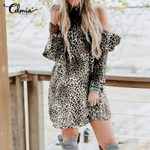 Sexy Off Shoulder Ruffles Casual Loose  Fashion Leopard Dress