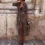 Sexy V Neck Long Sleeve  Leopard Dresses