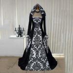 Retro Gothic Long Sleeve Flare Square collar Vintage Dress