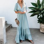 Casual Long V-Neck Long Vintage Dress