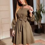 Long Sleeve O neck Lace Patchwork Sashes A-line Vintage Dress