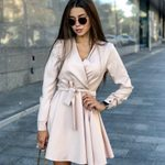 Casual Sashes A Line Sexy V Neck Long Sleeve  Vintage Dresses