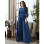 Casual Long Lantern Sleeve o Neck Solid Elegant Vintage Dress