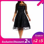 A Line Swing Elegant Mesh Sexy High Waist Lace Vintage Dresses