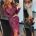 Glitter Sexy V neck Slim Glitter  Party Dress