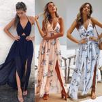 Floral Halter  Long Party Dresses