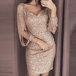 Sexy Gold Sequin V-neck Tassel Long Sleeve Mini Party Dress