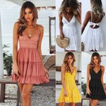 Backless Layers V Neck High Waist Party Dresses