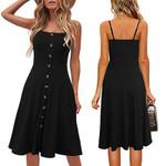 Fashion Button Sleeveless Button Spaghetti Party Dress