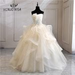 Strapless Bridal pearls Vintage Champagne Wedding Dresses