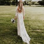 Stretchy Long Sleeve Open Back  Chiffon Lace Wedding Dress