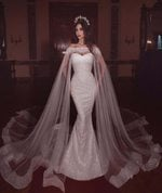 Long Veil Sweetheart Bridal Gowns Glitter Mermaid Wedding Dress