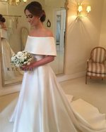 Off Shoulder Train A Line Long Cheap Satin Wedding Dress