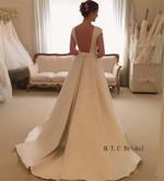 A Line Elegant Long Backless Satin Wedding Dress