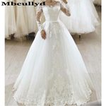 Sheer Long Sleeves Formal Puffy Wedding Dresses