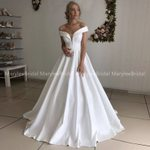 Off Shoulder A-line Lace Up Simple Vintage Wedding Dress