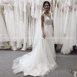 V Neck Backless Long Bridal Beach Wedding Dress