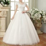 Cap Sleeves Long Vintage Lace Wedding Dresses