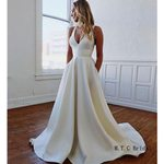 Bow A Line Long Simple Charming Satin Wedding Dress